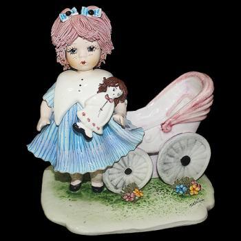 """Статуэтка """"Кукла с розовой коляской"""""""
