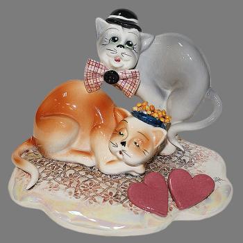 """Статуэтка """"Сердечная пара кошек"""""""