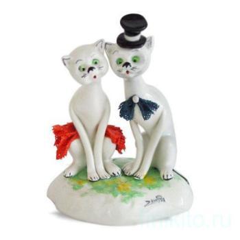"""Статуэтка """"Кот в цилиндре и кошка в красном платье"""""""
