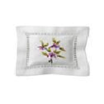 Саше Белое хлопковое (ручная вышивка)  без наполнителя Орхидеи Арт.3745