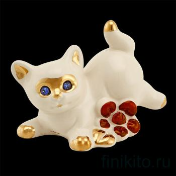"""Статуэтка """"Котенок играющий с цветком"""""""