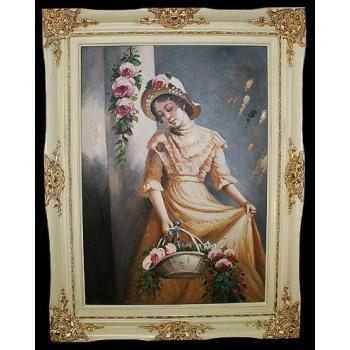 """Картина """"Девушка с корзиной цветов"""""""