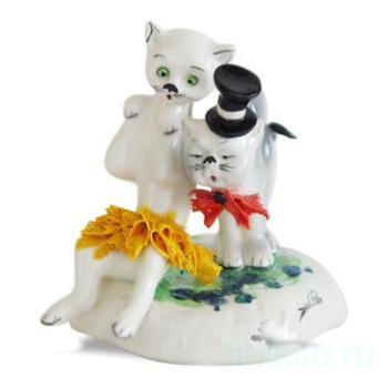 """Скульптура """"Кот в цилиндре и кошка в жёлтом платье"""""""