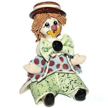 """Скульптура """" Сидящий клоун в коричневой шляпе"""""""