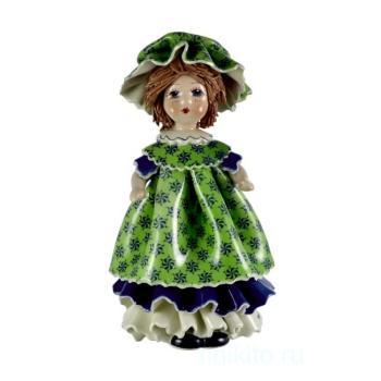 """Статуэтка """"Кукла с темными волосами в зеленом платье"""""""