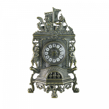 Часы Ангелы каминные фасадные, под бронзу