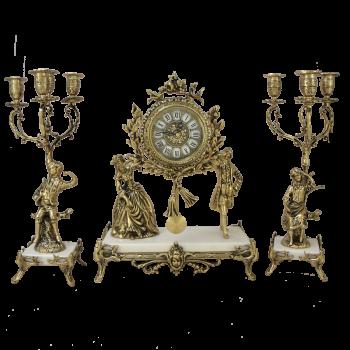Часы каминные c канделябрами Пастораль на мраморной подставке