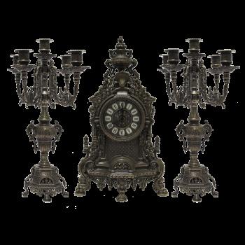 Часы каминные и 2 канделябра Барокко на 5 свечей, под бронзу