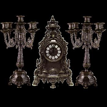Часы каминные и 2 канделябра Ростра на 5 свечей, антик