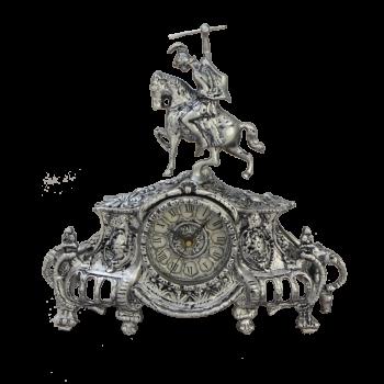 """Часы Коша, каминные бронзовые с покрытием """"серебро"""""""