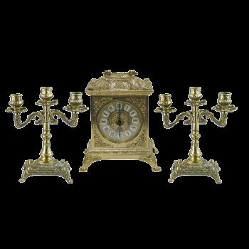 Часы Ларец каминные, 2 канделябра на 3 свечи