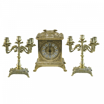 Часы Ларец каминные, 2 канделябра на 5 свечей