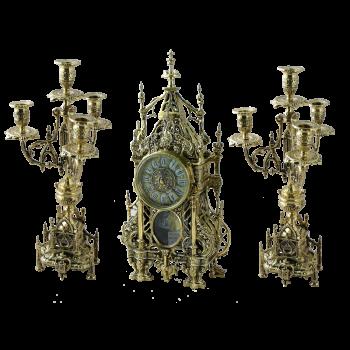 """Каминные часы с канделябрами в наборе """"Кафедральный"""""""