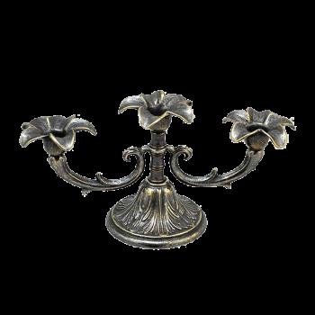 Канделябр Цветок на 3 свечи антик