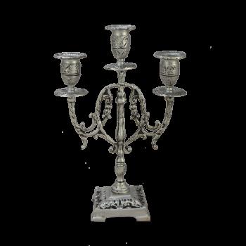 """Канделябр Лира 3-х рожковый бронзовый с покрытием """"серебро"""""""