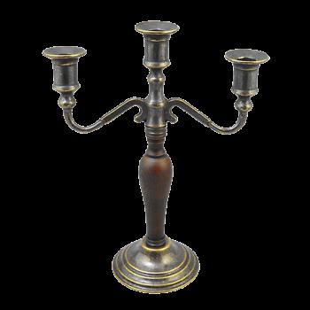 Канделябр на 3 свечи с деревянной вставкой на основании антик
