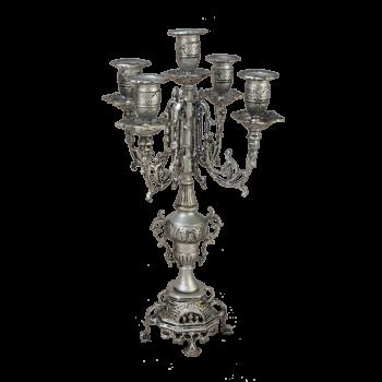 """Канделябр Париж на 5 свечей бронзовые с покрытием """"серебро"""""""