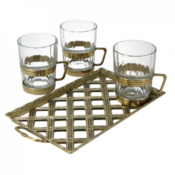 Набор: поднос Плетенка + 6  подстаканников со стаканами