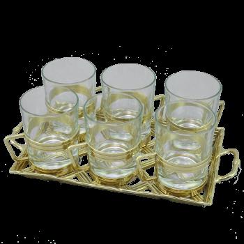 Набор: поднос Плетенка + 6  стаканов с подстаканниками