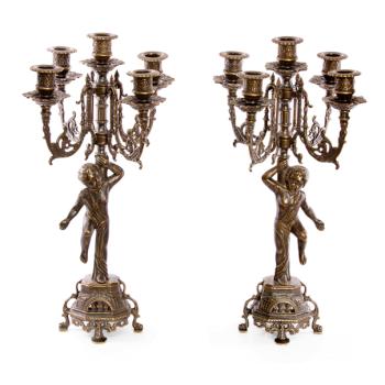 Пдсвечники Купидон, пара на 5 свечей, под бронзу