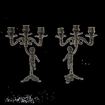 Подсвечник Амур пара на 3 свечи, антик