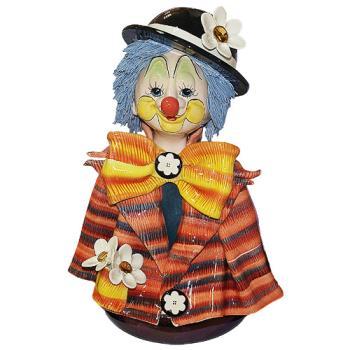 """Скульптура- бюст """"Клоун в котелке с цветком"""""""