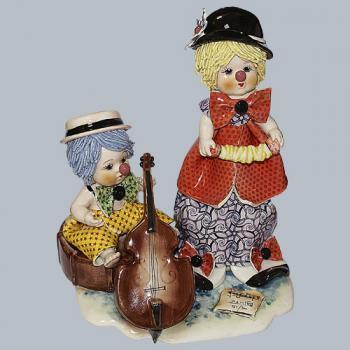 "Статуэтка ""Дуэт: клоун с виолончелью и клоун с гармошкой """