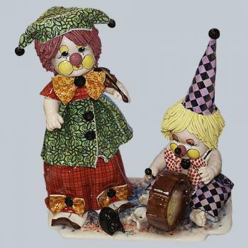 "Статуэтка ""Дуэт: клоун - скрипач и клоун - барабанщик"""