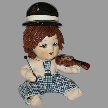 """Статуэтка """"Клоун - мальчик со скрипкой в голубом костюме"""""""