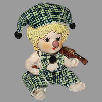 """Статуэтка """"Клоун - мальчик со скрипкой в зеленом костюме"""""""
