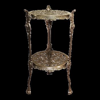 Столик круглый большой 24х46 см, 2 полки, бронза